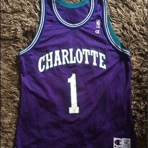 Vintage Champion Muggsy Bogues Purple Jersey Sz48